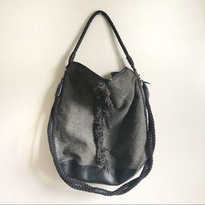 Free People Black Large Canvas Bucket boho bag